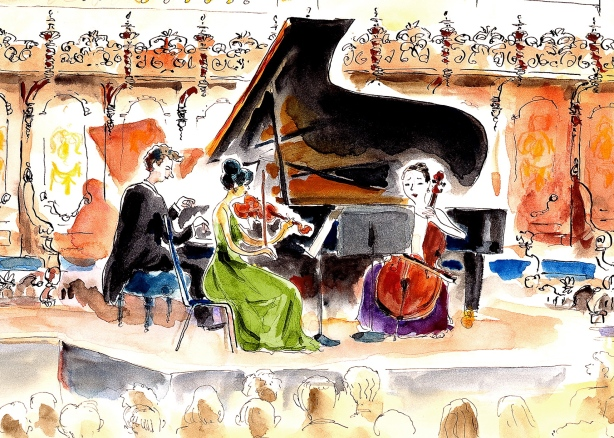 Pat Byrnes cartoon of the Beethoven Project Trio